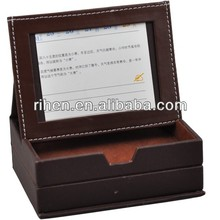New design two drawers faux leather memo box