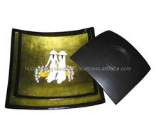 Lacquer painting dish with a beautiful old street of Ha Noi inside