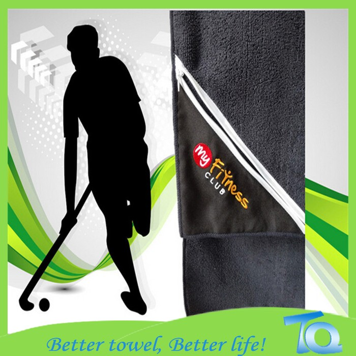 Microfiber Gym Towel With Zip: Wholesale Microfiber Zip Pocket Towel, Gym Towel With Zip