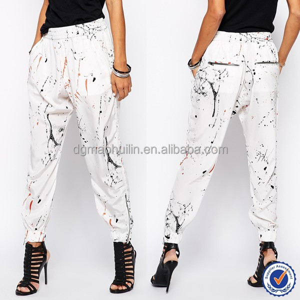 new fashion women pants wholesale hippie clothing nice and popular women trousers cuffed pants