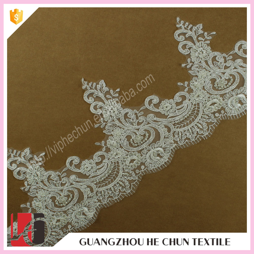 HC-1125-1 Hechun Tulle Embroidered Bead Venice Decorative Lace Trim