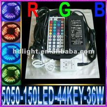 5M Waterproof SMD 5050 LED Strip Light 150 Leds Flash RGB +44K IR Remote Control