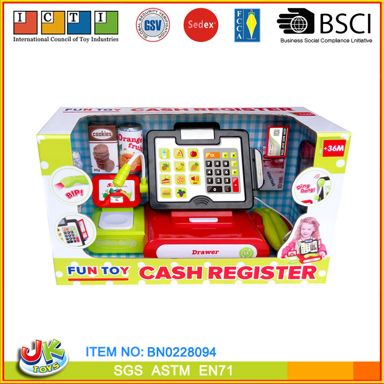 [JK TOYS] Kid Fun Play Toy Cash Register With Scanning,microphone,cash and foods