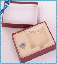 Wholesale Custom book shape hingle red regid chipboard die cut foam insert packaging box