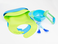 Kids Dinner Set: Suction Bowl + Food Masher + Spoon + Bib, Multiple Color, Private Label