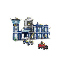 Helicopter on the roof top! Enlighten Police station bricks legoing compatible police equipment toy