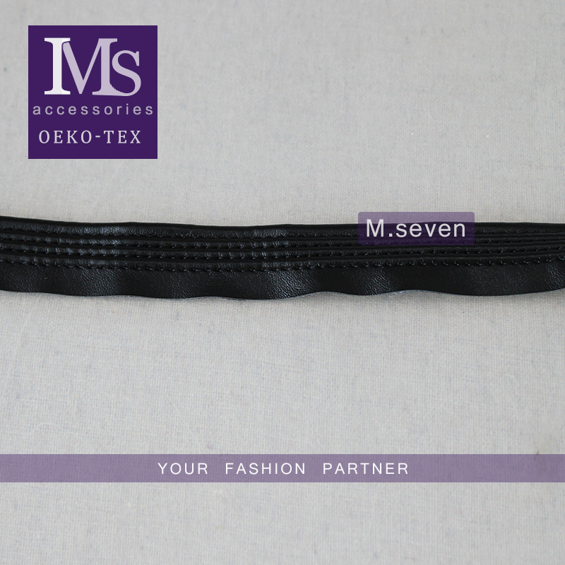 professional manufacturer black leather lace in 2.3cm for sale