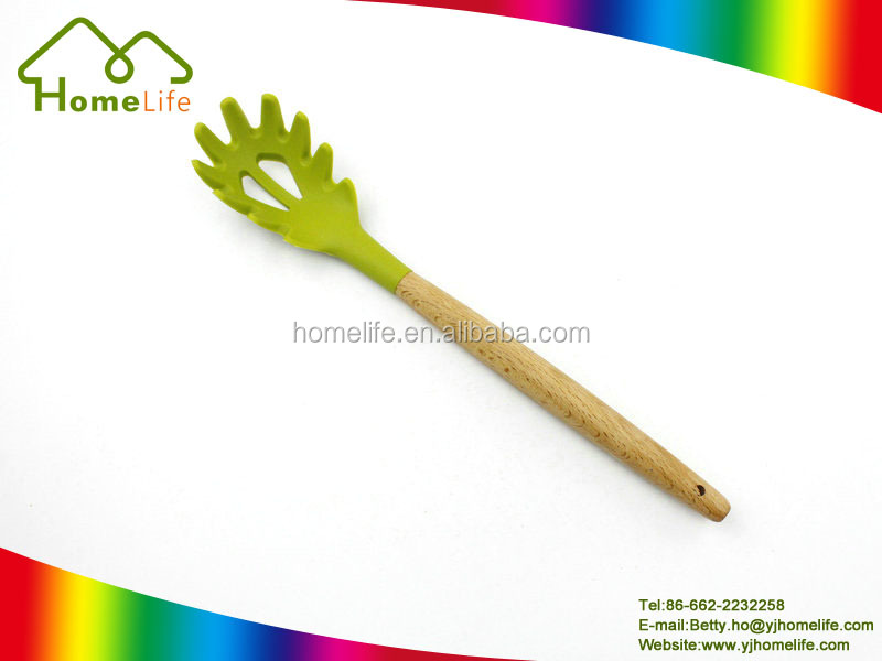 New design Silicone Cooking tools Spaghetti Claw/pasta server with wooden handle