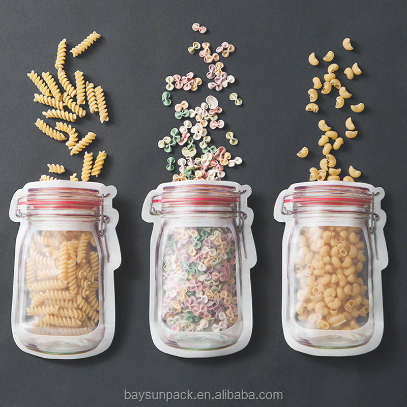 Newest custom order food prep packing plastic PE plastic bags for snacks mason jar plastic bags
