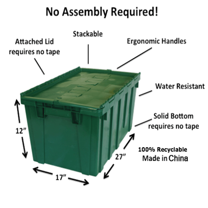 Heavy duty plastic moving crate, PP plastic crate