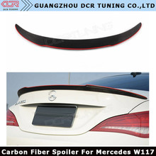 For Mercedes CLA W117 C117 CLA 200 250 260 A45 W117 Carbon Fiber Rear Trunk Spoiler Wing Lid With Red Line 2013 - UP