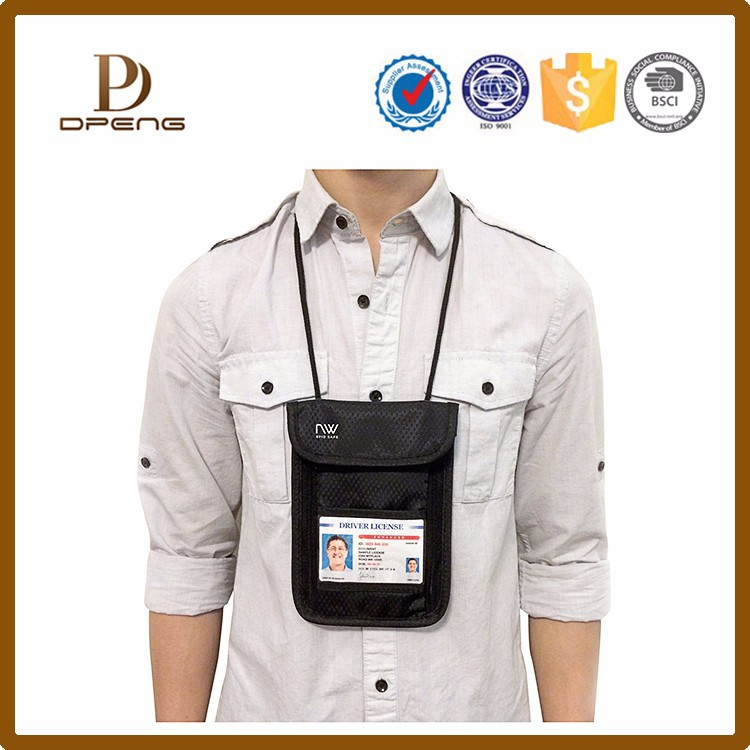 Hot selling RFID Travel Neck Stash Pouch Holder Passport Id Wallet Bag