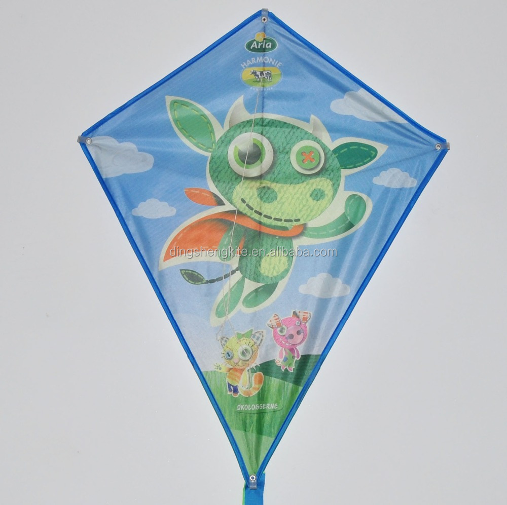 Advertising animal shape cow pattern diamond kite