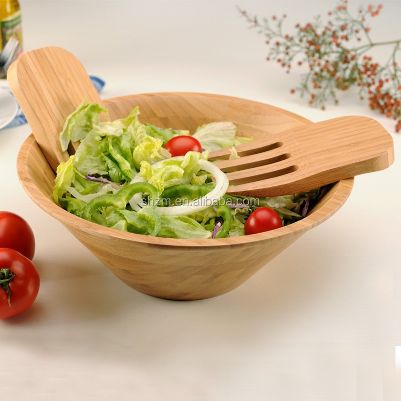 Bulk buy from China kitchen utensils hot new design bamboo salad bowl set