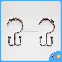 Bathroom decor stainless steel curtain hanger/rings,silver finish shower curtain hook