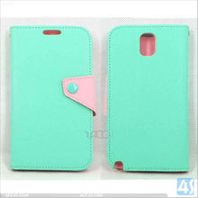 Korean Style Double Color Button Leather Stand Case for Samsung Galaxy Note III/3/N9000 P-SAMN9000CASE024