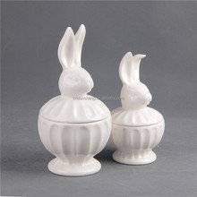 Creative Christmas Ornaments Dressing Table Decoration Ceramic Jewelry Box with Rabbit Shaped Animal Cover, Set of Two