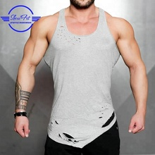 Custom blank distressed gym tank top mens gym singlet stringer vest