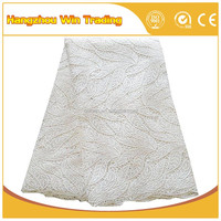 Hot african textiles / white lace material / indian bridal lace fabric with rhinestone 2016
