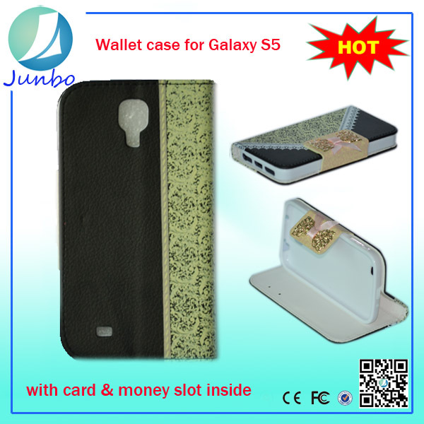 New Arrival Fancy Leather Flip Cover Purse Case for samsung galaxy s4 mini