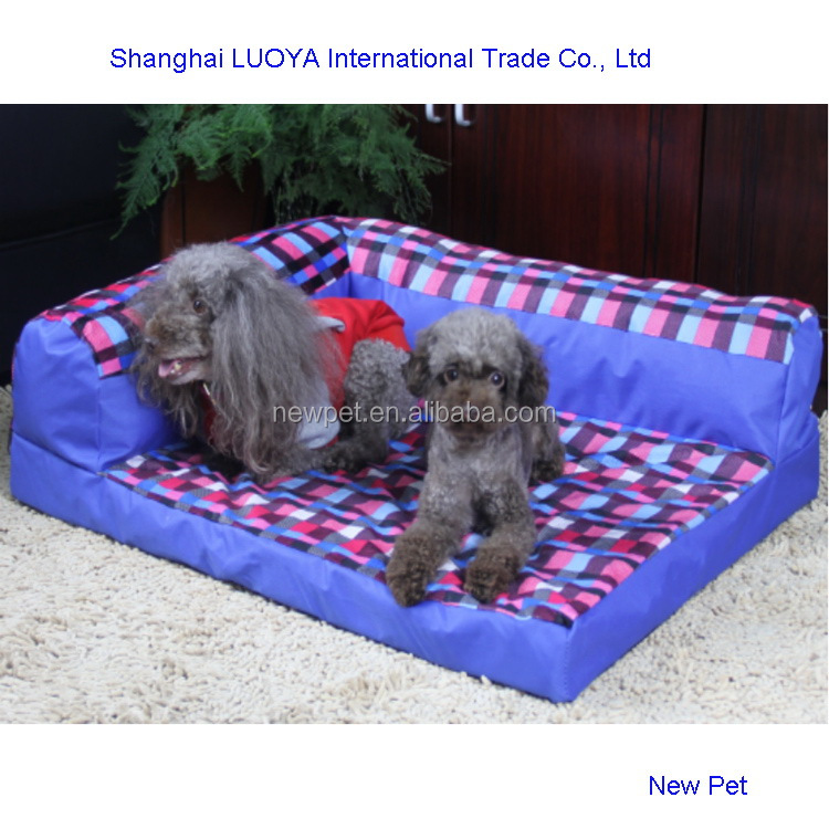 Top level fashionable best red check dog sofa pet bed dog houses oem