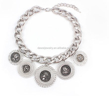 Aluminium chain collar jewelry necklace with round portrait