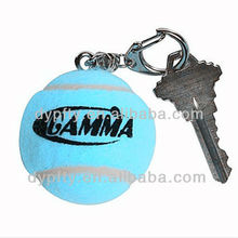 Promotional blue tennis ball keychain