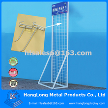 free standing metal wire display shelf with hooks