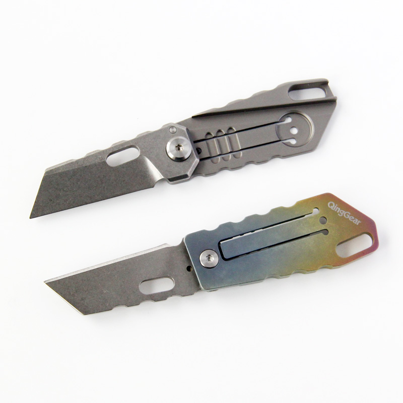 Titanium handle Folding Knife S35VN Tanto Blade EDC KeyChain Pocket Knife For Gift Colletction Camping Mini Knives