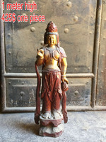 hand made antique wooden carving statue wood buddha statue Kuanyin buddha statue