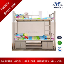 modern school furniture metal bunk bed with small cabinet ,university apartment metal bed