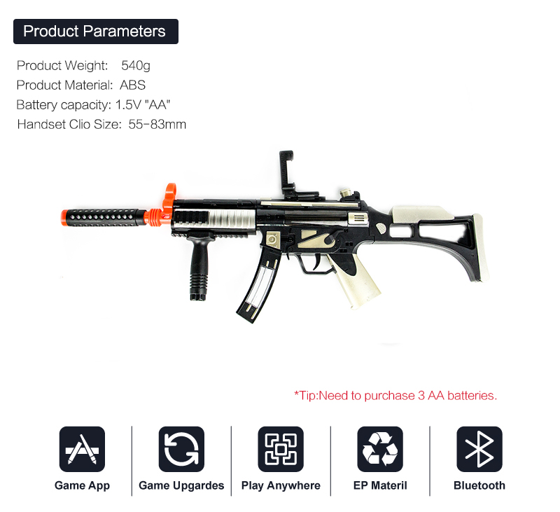High Quality Virtual AR Gun Bluetooth Toy Shooting Game gun with Wholesale price