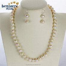 9mm grade A off round freshwater real jewellery pearl set