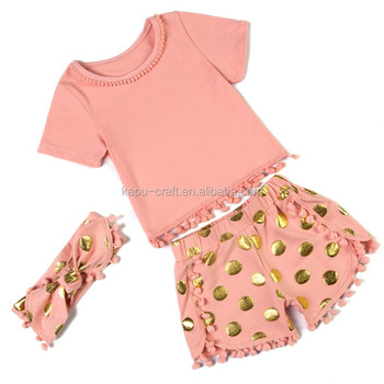 High quality children pettiset boutique baby cotton clothing pompom set kids summer gift sets