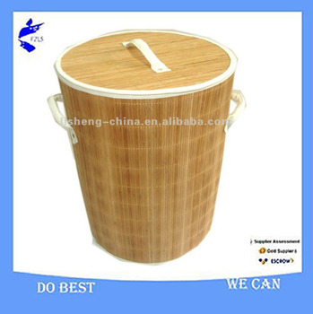 Bamboo Round Laundry Storage Basket