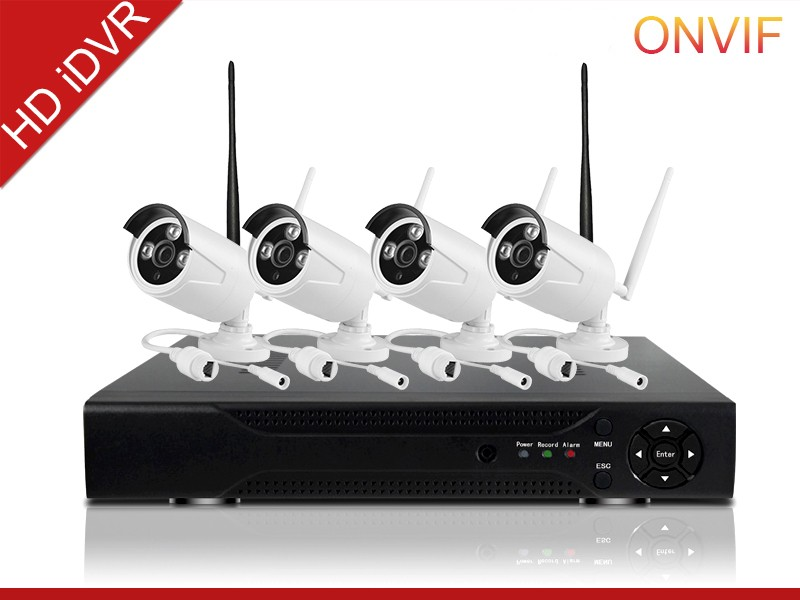 cheap home security camera systems Dual stream encoding hd 720p ip camera h.264 P2P 4ch network dvr kit