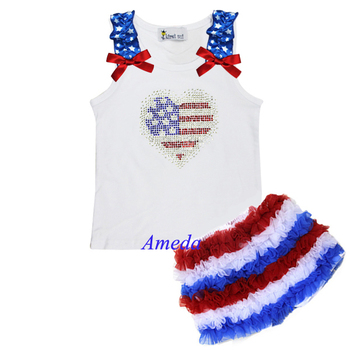 Girls Red White Blue Ruffles Shorts 4th July Patriotic Rhinestone USA Flag Heart White Tank Top 1-7Y