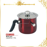 Practical stainless steel 1.5L non electric whistling kettle double wall milk pot with heat resistant bakelite handle