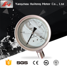 (YBF-100) 100mm safety glass 10bar EN837-1 bottom ss type nitrogen bourdon type pressure gauge