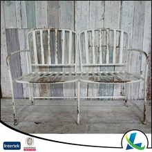 American Style Garden Industrial White Metal Old Chair
