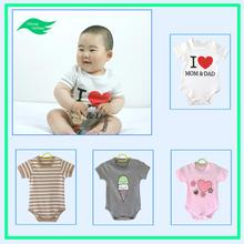 Breathable,Eco-Friendly cute baby clothing short sleeve 100% organic cotton baby bodysuits