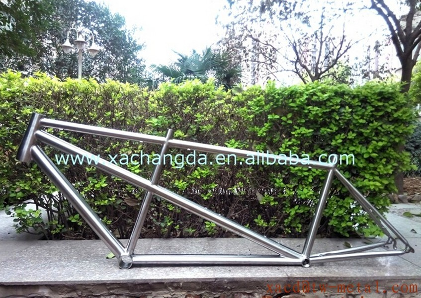 New Design 2016 Titanium Tandem Road Bike Frame with handing brush finished and double seat tube chinese tandem bicycle frame
