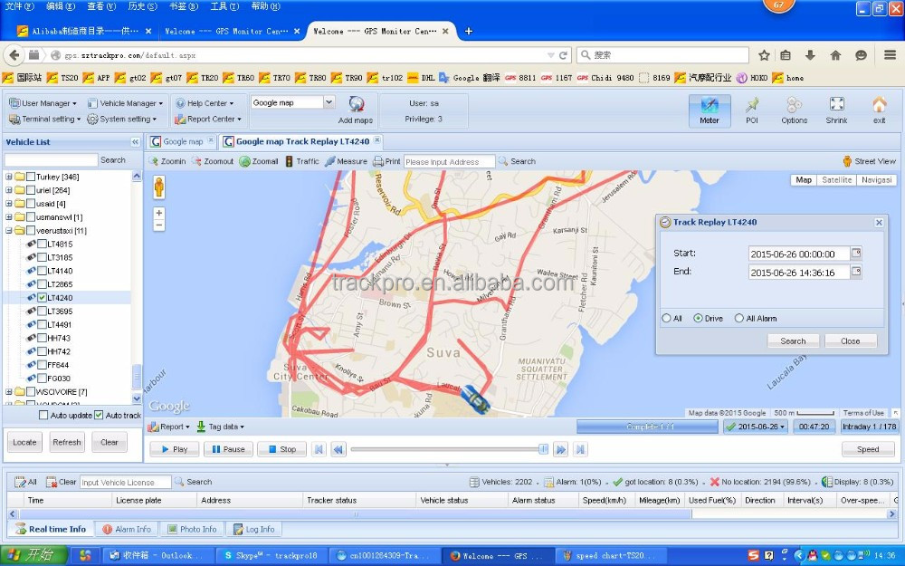 GPS Vehicle Tracking System, providing demo for free test support most tracker