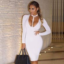 2015 Celebrity Long Sleeve Deep V-neck Spaghetti Strap Rayon Pink Black Brown White Bandage Dress Cocktail Knee-length Dresses