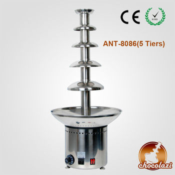 CHOCOLAZI ANT-8086 5 tiers #304 CE&RoHS stainless steel Commercial Auger Large chocolate fountain