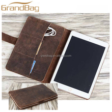"Top-quality crazy horse leather cover for ipad pro with headphone case for iPad Pro 12.9"" inch Leather cover Multi-Function case"