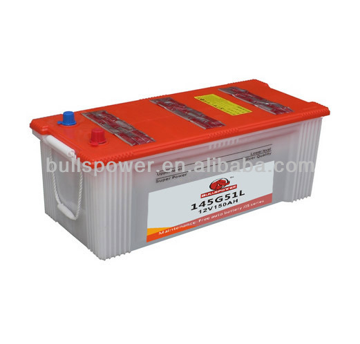 lead acid mf car battery 145G51L,auto rickshaw battery,JIS standard car and truck batteries