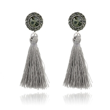 Vintage style round stud earring with grey tassel long drop earring, handmade lady's fashion earring grey tone