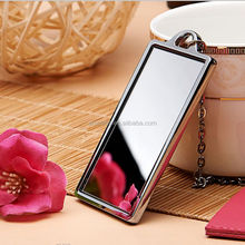 hot sell square shape zinc alloy chrome PU pouch & chain dia cast craft cosmetic mirror