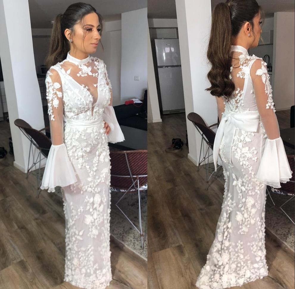 Yasa,2089 Vintage Bell Sleeves Lace Applique 3d Flowers Beach Mermaid  Wedding Dresses 2019 , Buy Wedding Dress 2019,Vintage Wedding Dress,Beach